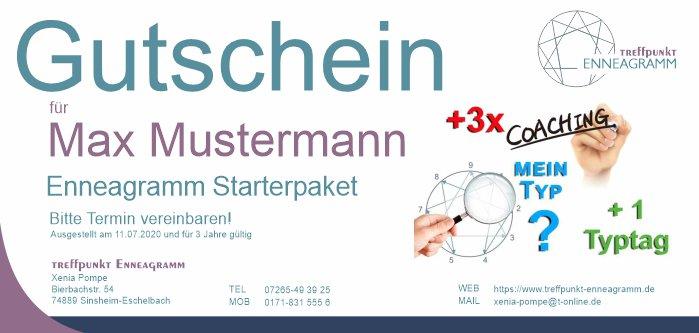 Gutschein für Typfindung + 3x Coaching + Teilnahme and 1 Typtag